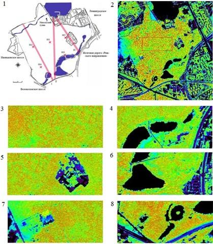 Расположение площадок, трансектов и космические снимки состояния растений в парке Покровское – Стрешнево