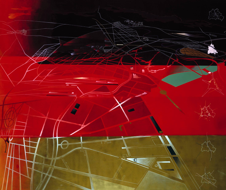 КОНЦЕПТУАЛЬНАЯ ЖИВОПИСЬ ЗАХИ ХАДИД // BERLIN 2000  БЕРЛИН, ГЕРМАНИЯ // 1988   Еще до падения Берлинской стены в 1989 году, бюро Zaha Hadld Architects были приглашены, чтобы отразить городское развитие в будущем.