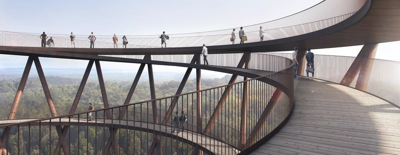EFFEKT's treetop experience observation tower offers a breathtaking panoramic view of Denmark