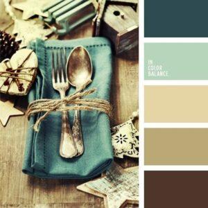 Цветовое сочетание, синий, голубой, коричневый.
