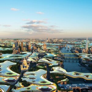"""Clive Wilkinson разработал концептуальный план Лондона, """"сплошной офис"""", где человек может просто подняться на свое рабочее место."""
